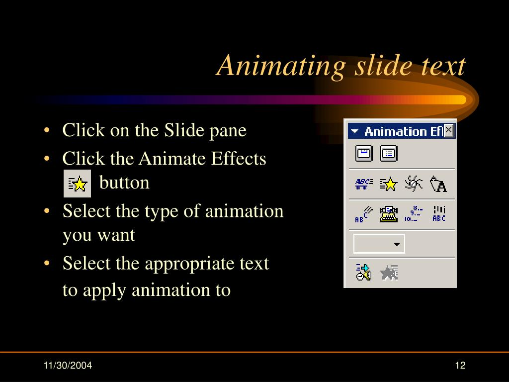Animating slide text