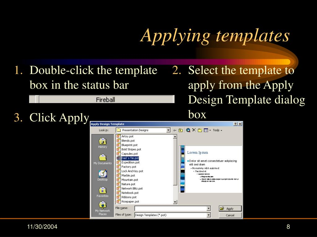 Applying templates
