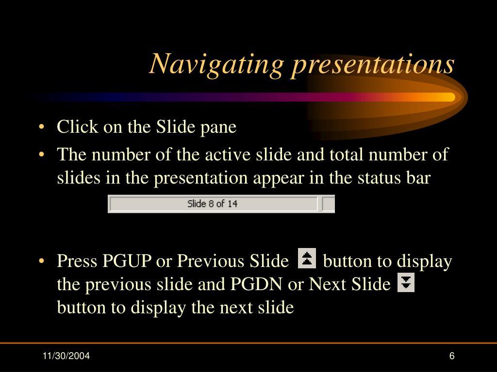 Navigating presentations