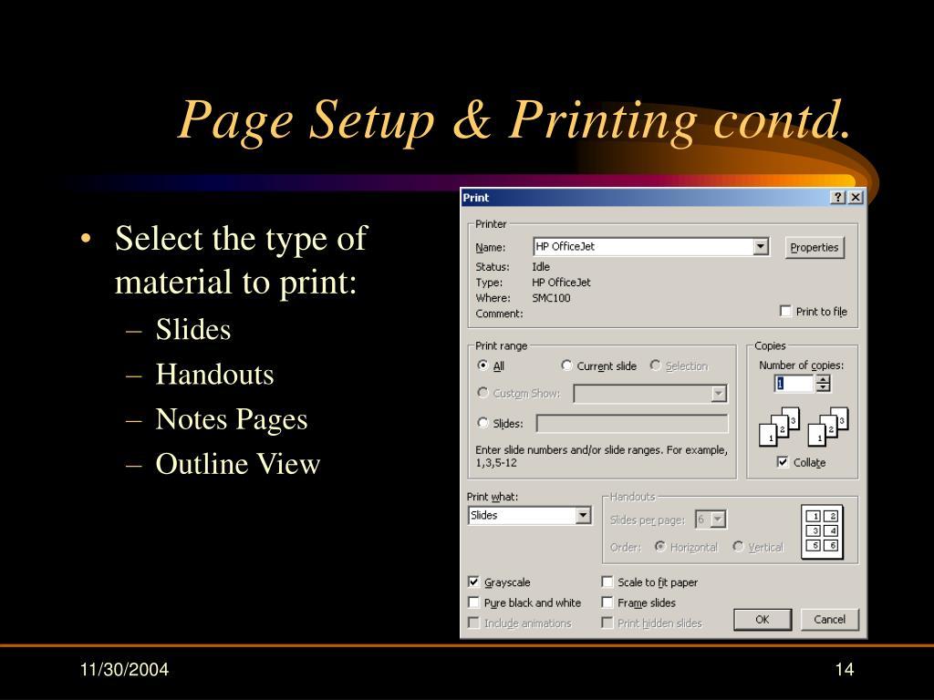 Page Setup & Printing contd.