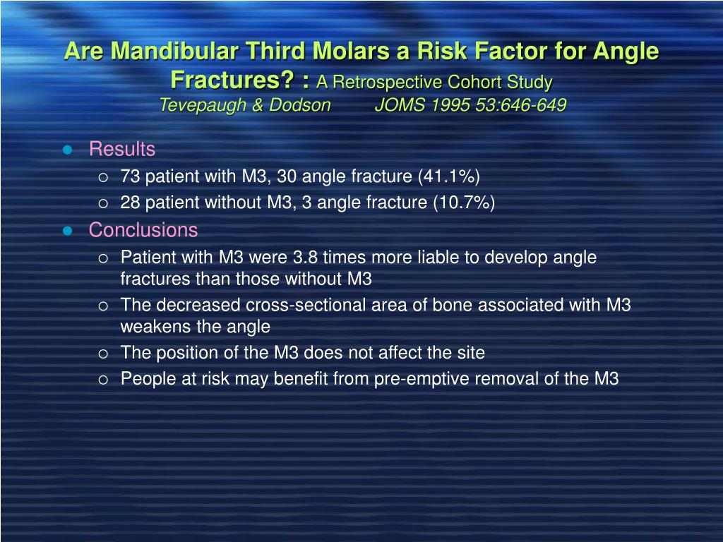Are Mandibular Third Molars a Risk Factor for Angle Fractures? :