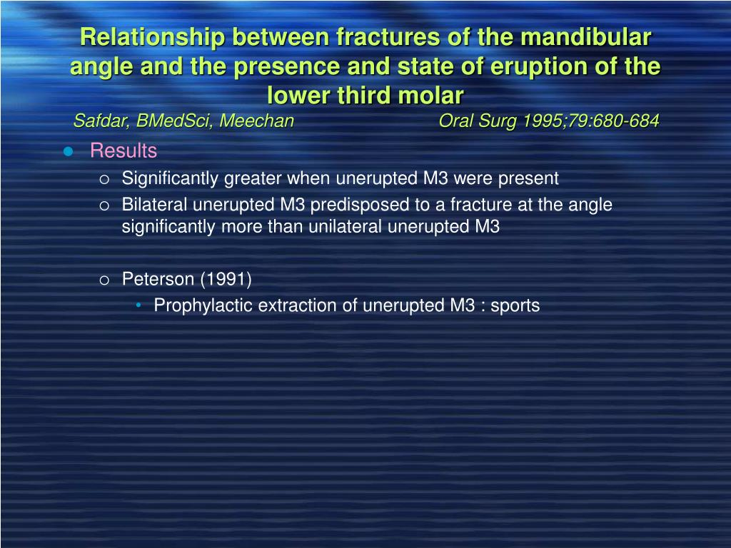 Relationship between fractures of the mandibular angle and the presence and state of eruption of the lower third molar