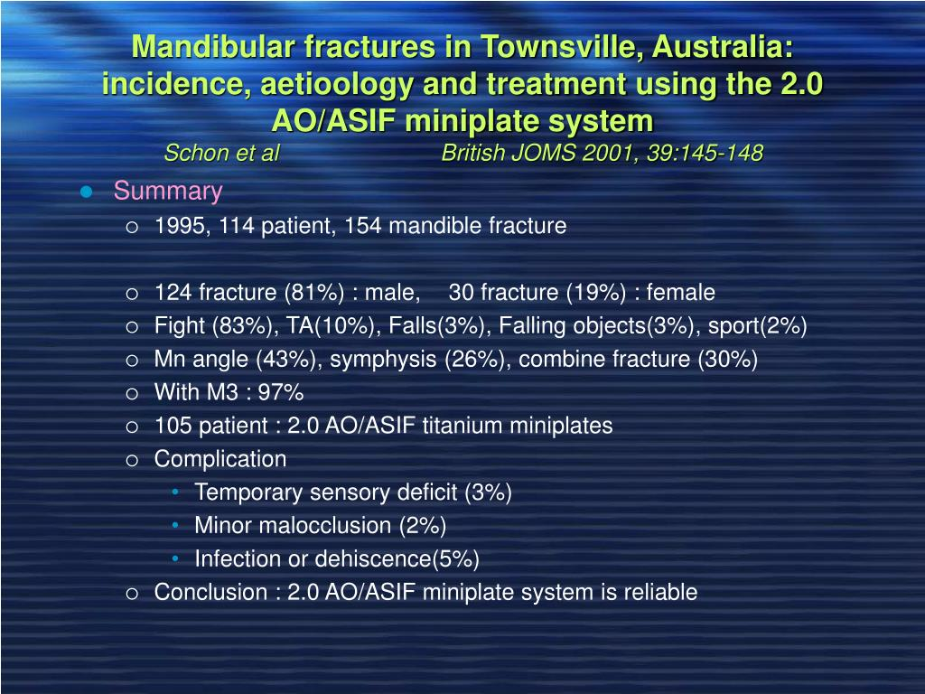 Mandibular fractures in Townsville, Australia: incidence, aetioology and treatment using the 2.0 AO/ASIF miniplate system