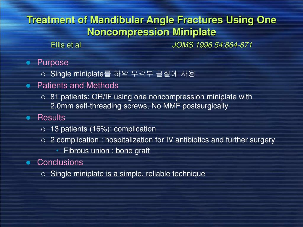 Treatment of Mandibular Angle Fractures Using One Noncompression Miniplate