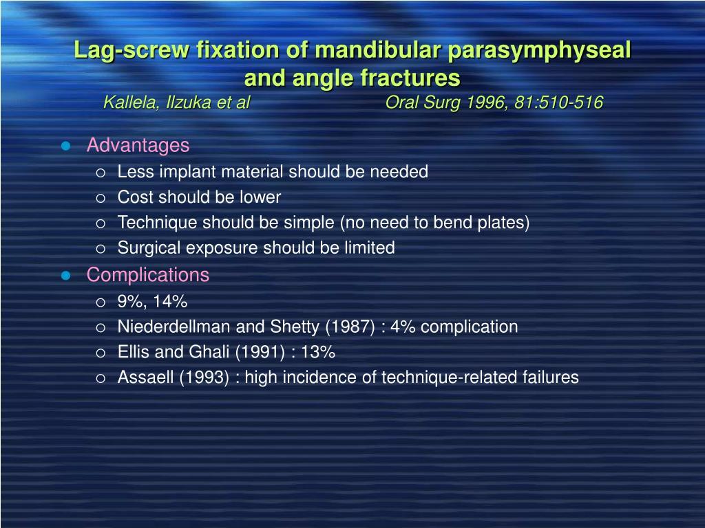 Lag-screw fixation of mandibular parasymphyseal and angle fractures
