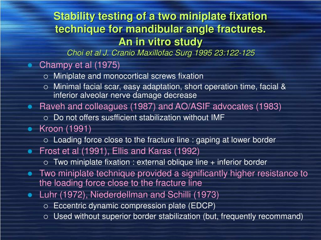 Stability testing of a two miniplate fixation technique for mandibular angle fractures.