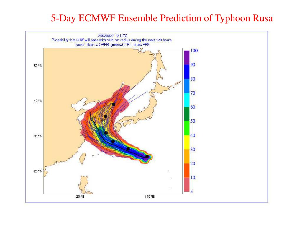 5-Day ECMWF Ensemble Prediction of Typhoon Rusa