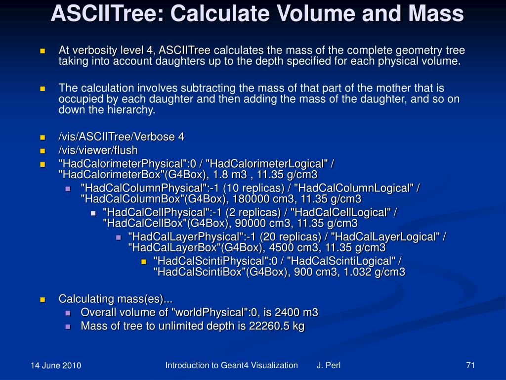 ASCIITree: Calculate Volume and Mass