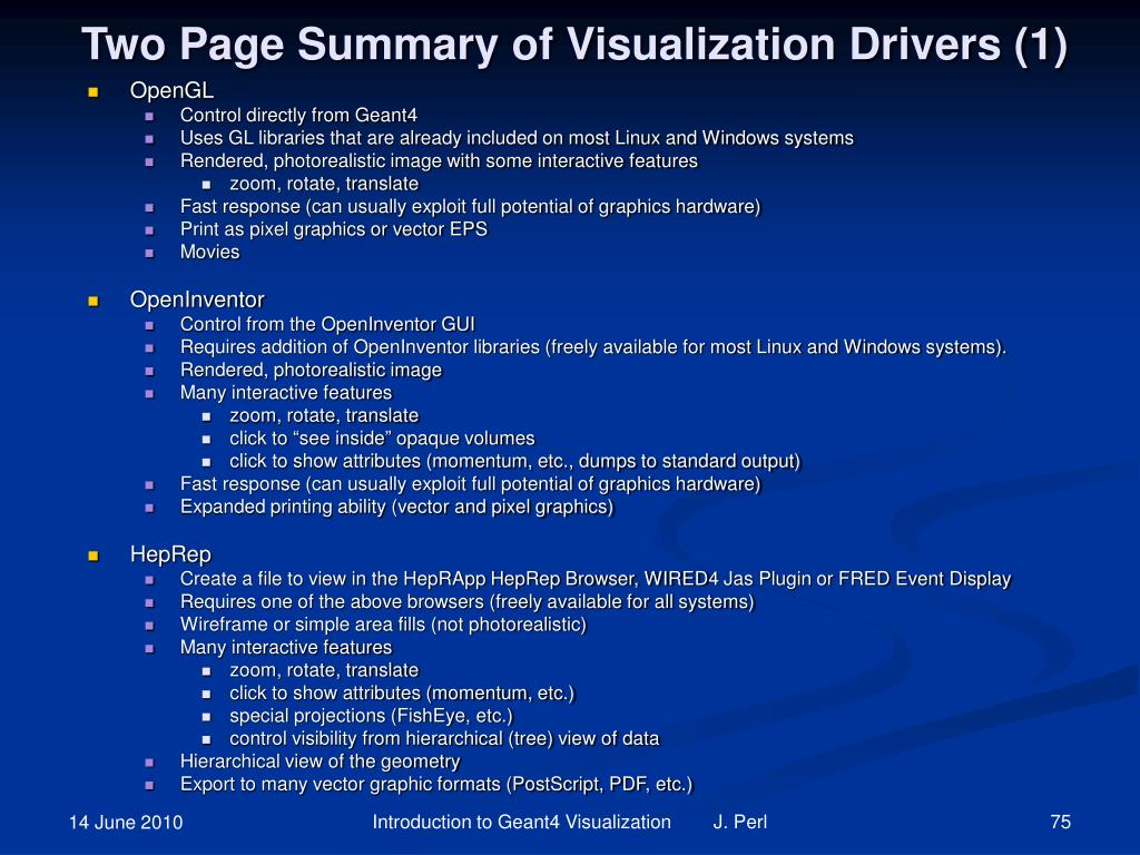 Two Page Summary of Visualization Drivers (1)