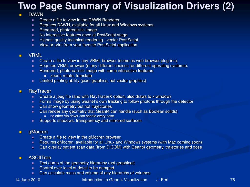 Two Page Summary of Visualization Drivers (2)