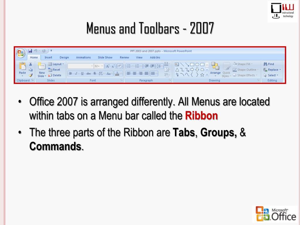 Menus and Toolbars - 2007