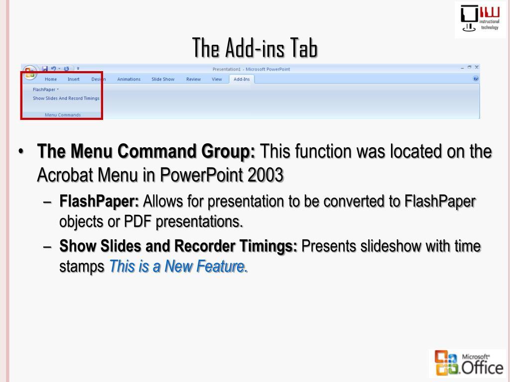 The Add-ins Tab
