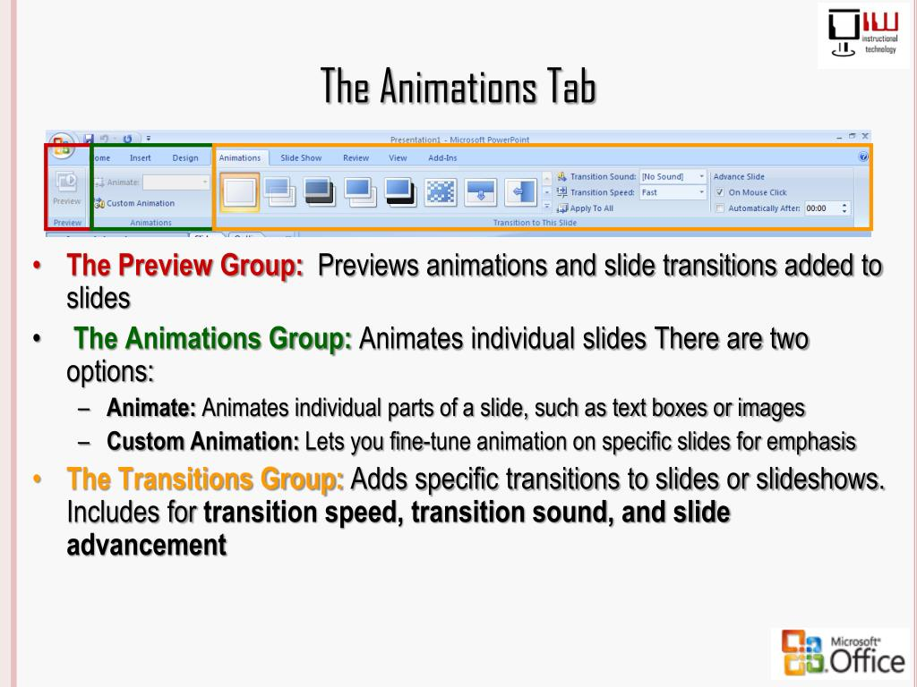 The Animations Tab