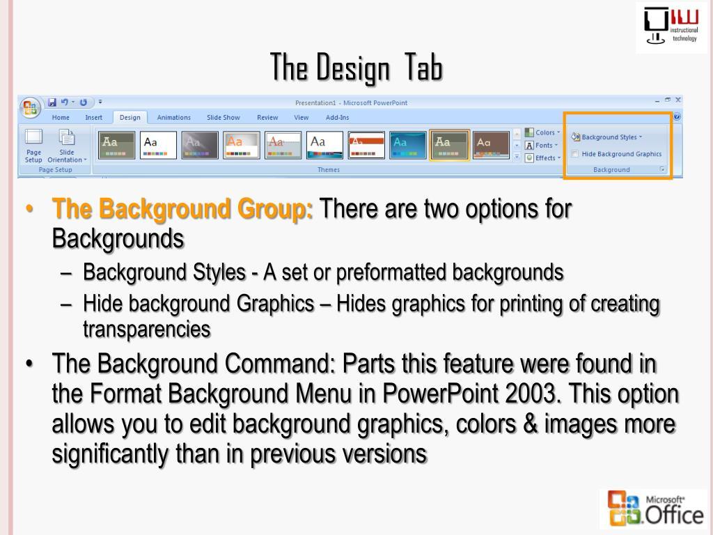 The Design  Tab