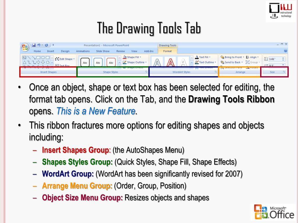 The Drawing Tools Tab