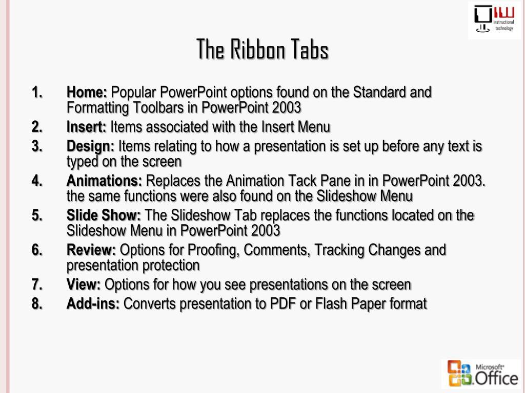 The Ribbon Tabs