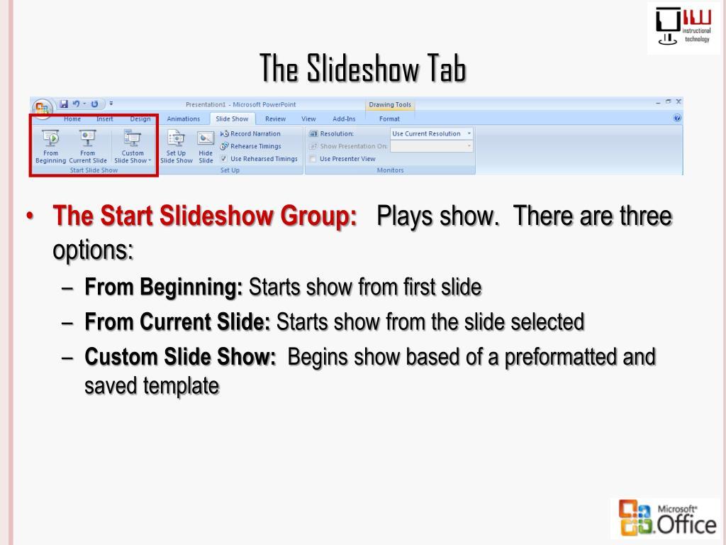 The Slideshow Tab