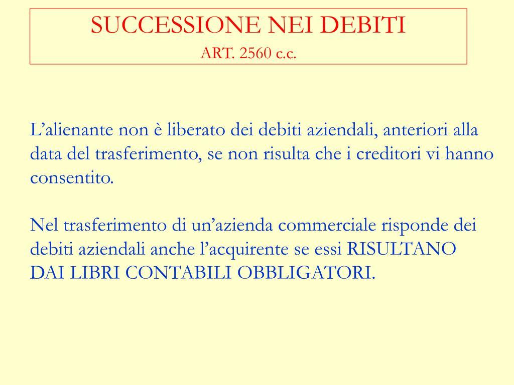 SUCCESSIONE NEI DEBITI