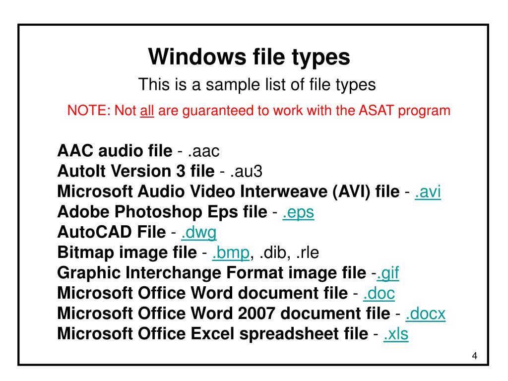 Windows file types