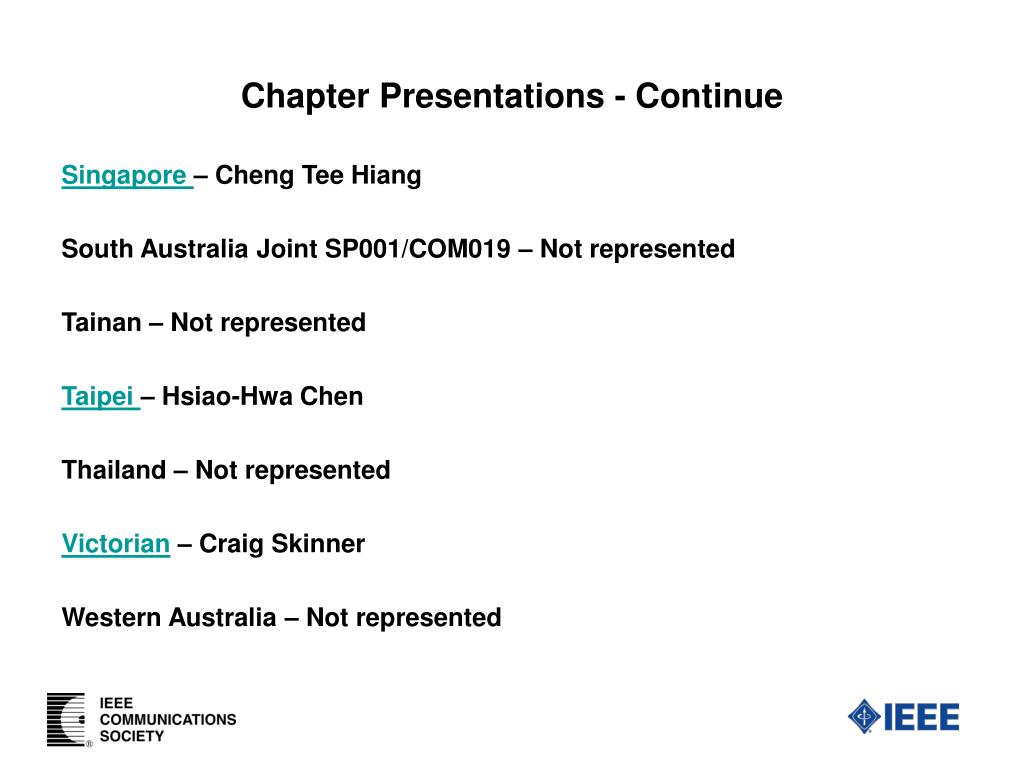 Chapter Presentations - Continue