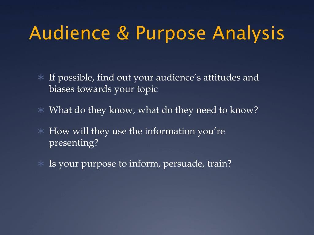 Audience & Purpose Analysis