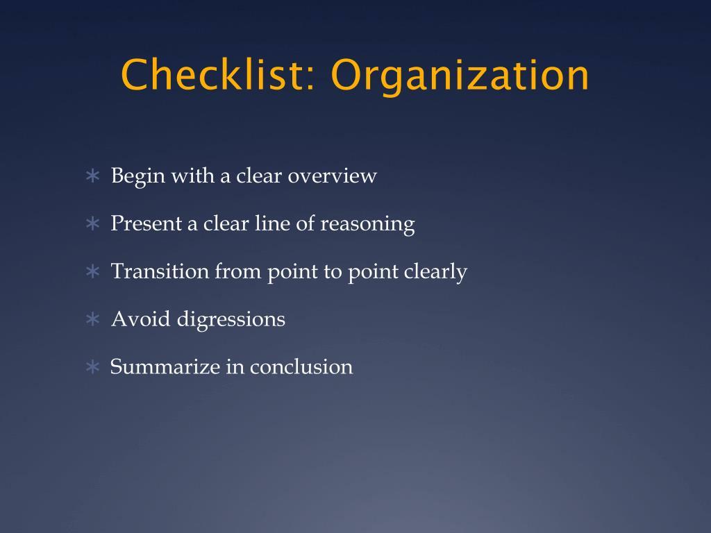 Checklist: Organization