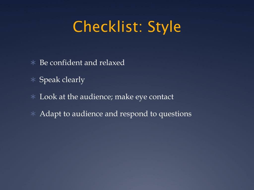 Checklist: Style
