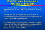 icao technical co operation mandate for cns atm