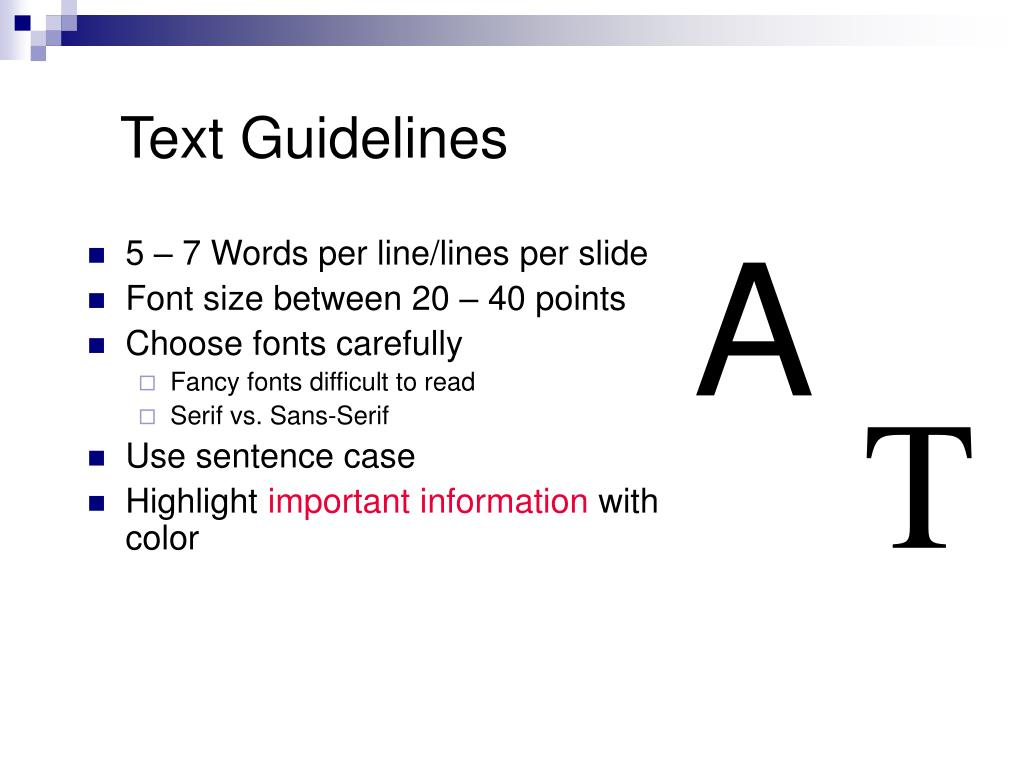 Text Guidelines