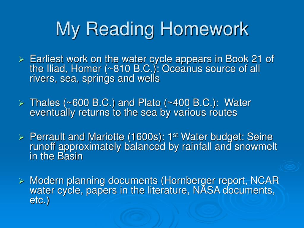Water cycle homework help