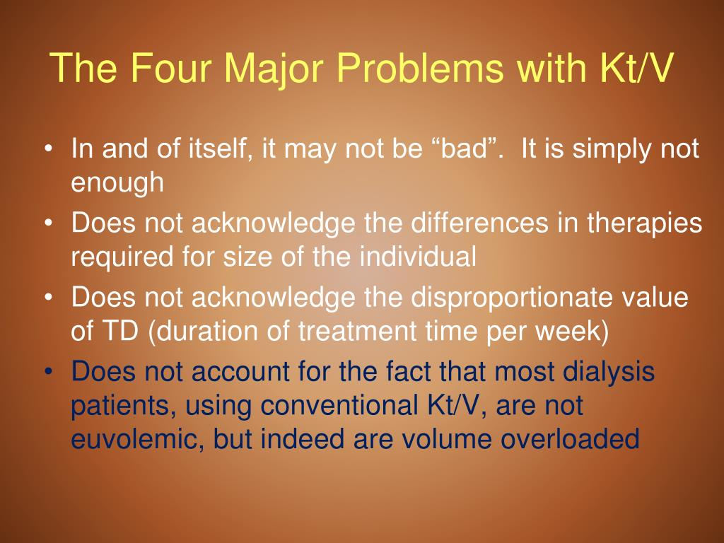The Four Major Problems with Kt/V