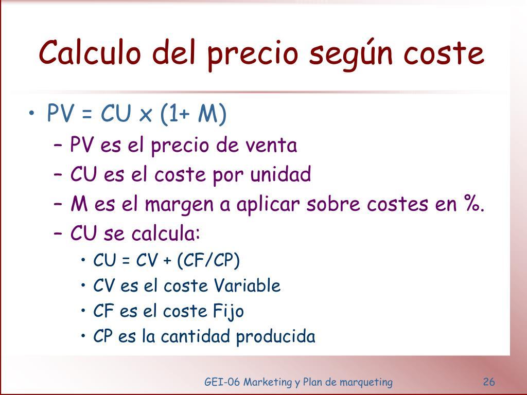 Calculo del precio según coste