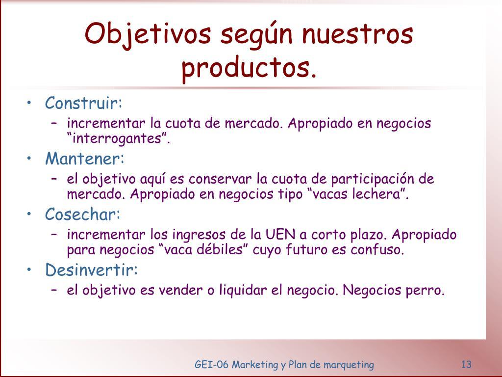 Objetivos según nuestros productos.