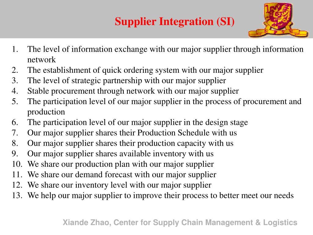 Supplier Integration (SI)
