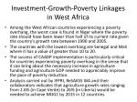 investment growth poverty linkages in west africa25