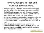 poverty hunger and food and nutrition security mdg1