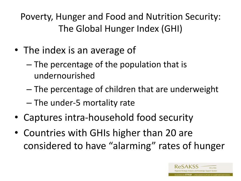 Poverty, Hunger and Food and Nutrition Security: The Global Hunger Index (GHI)