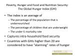 poverty hunger and food and nutrition security the global hunger index ghi