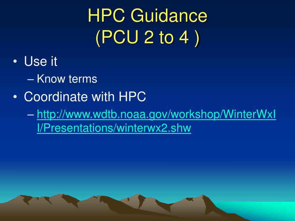 HPC Guidance