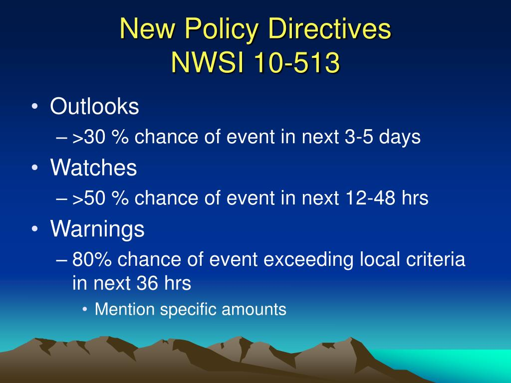 New Policy Directives
