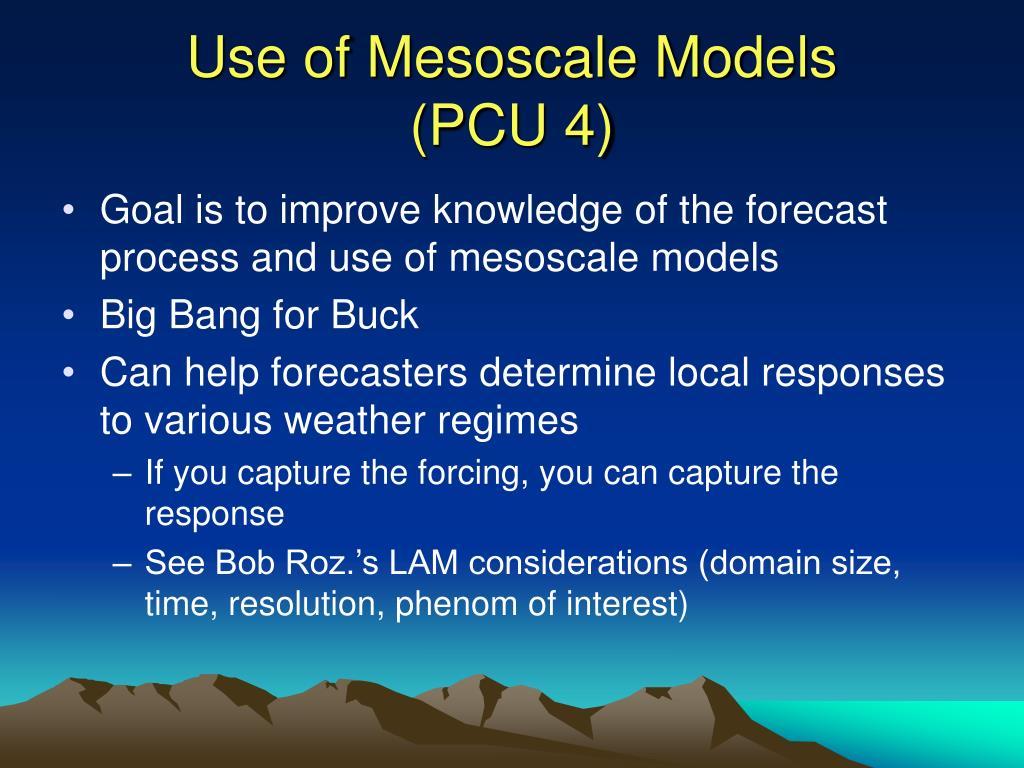 Use of Mesoscale Models