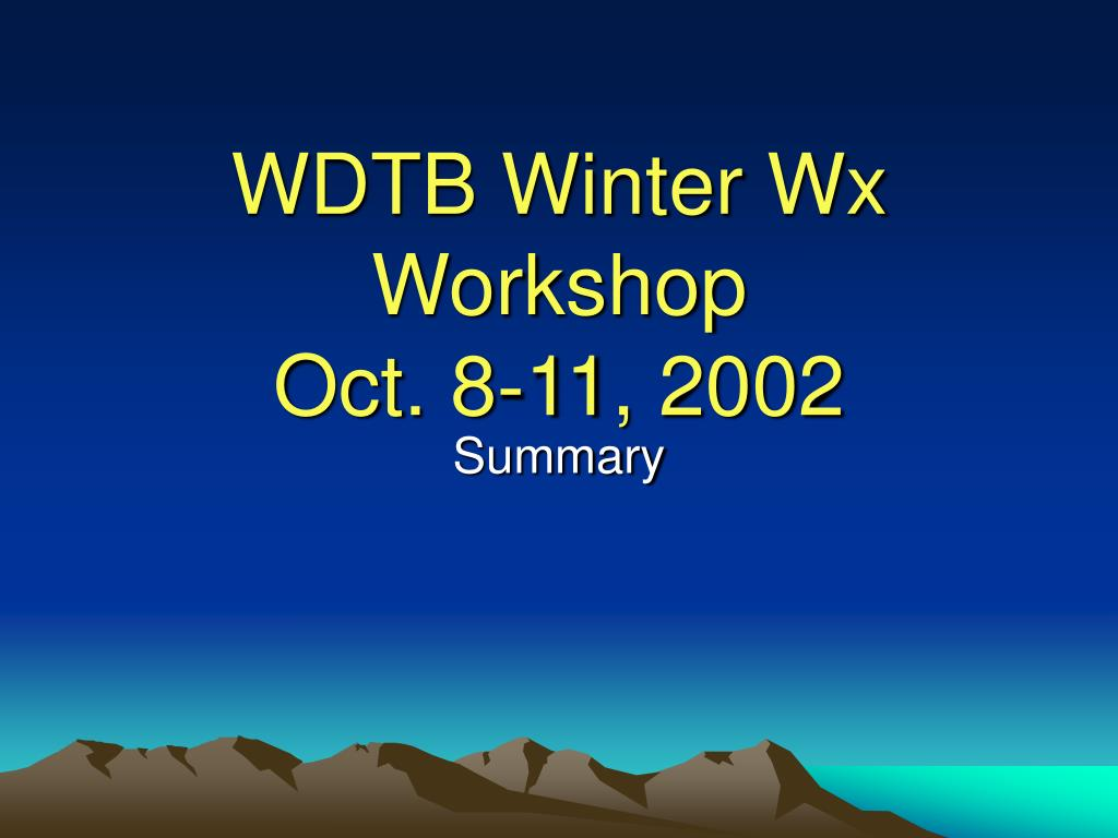 WDTB Winter Wx Workshop