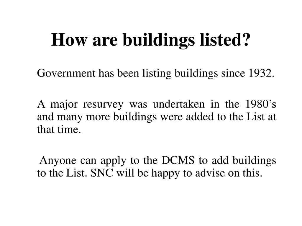 How are buildings listed?