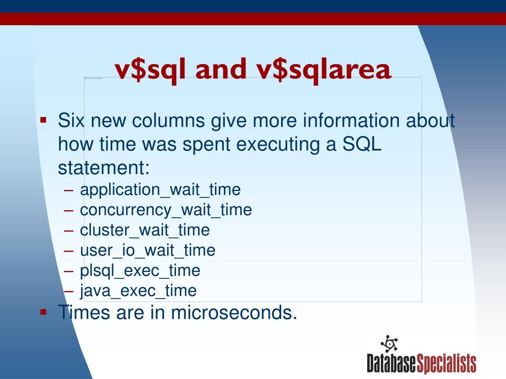 v$sql and v$sqlarea