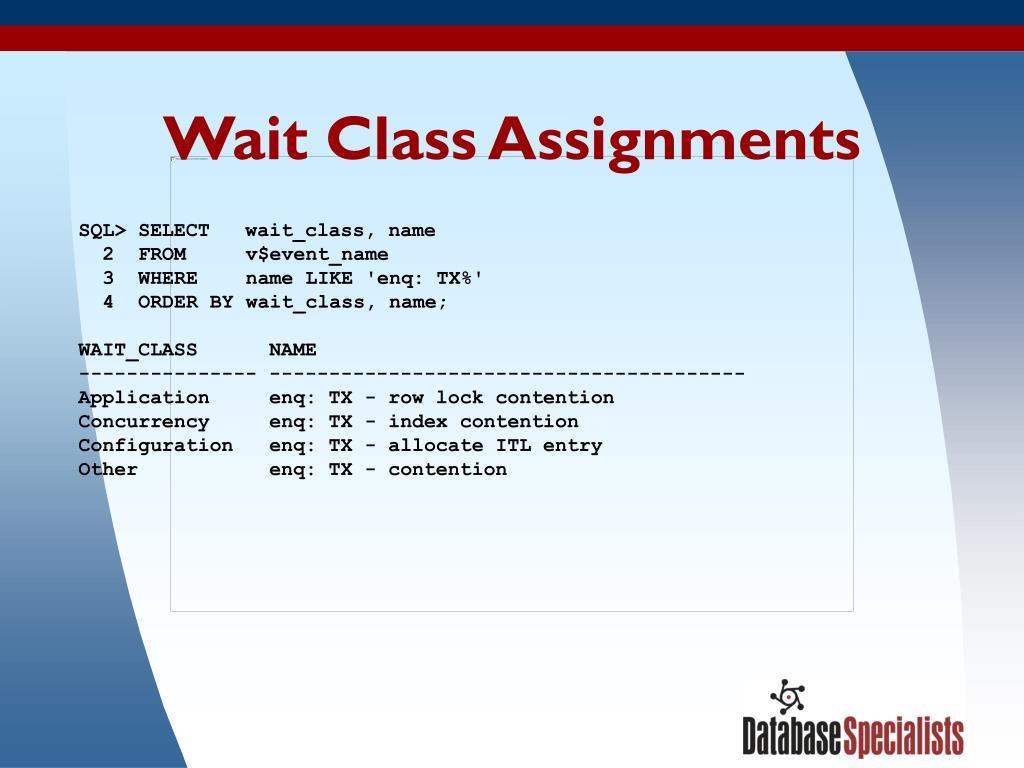 Wait Class Assignments