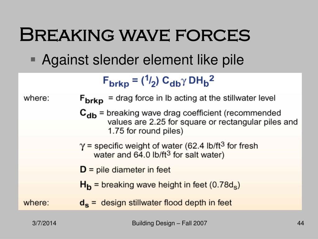 Breaking wave forces