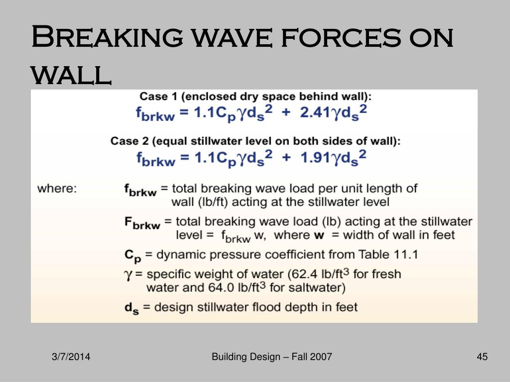 Breaking wave forces on wall
