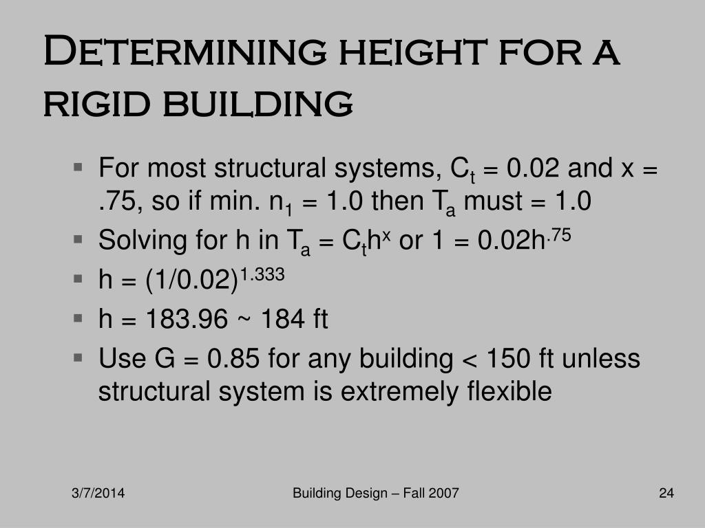 Determining height for a rigid building