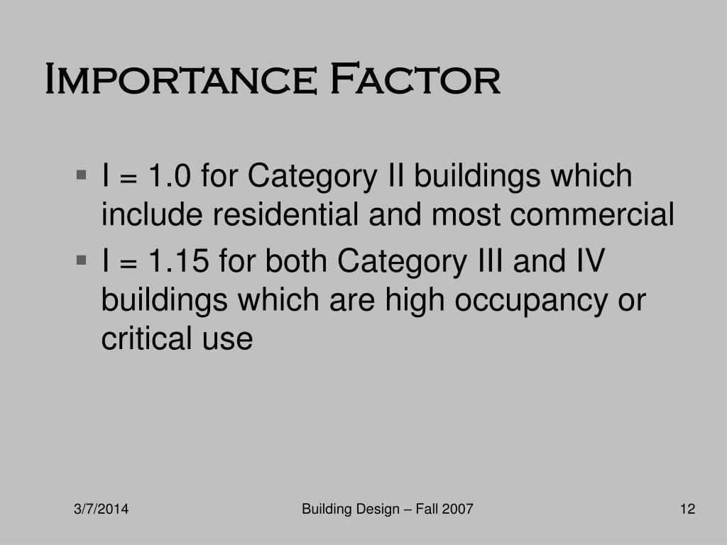 Importance Factor