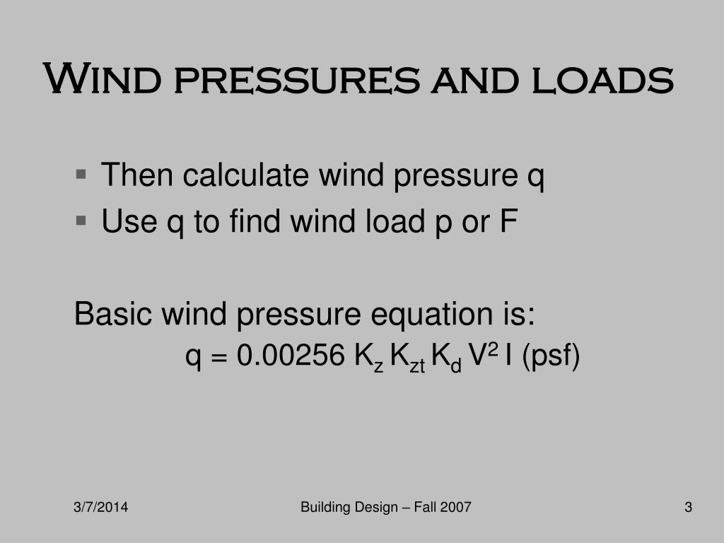 Wind pressures and loads